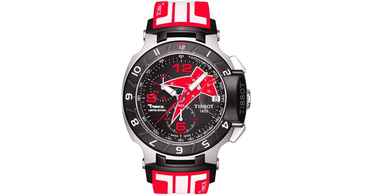 Tissot Mens T-race Black Quartz Chronograph Rubber Strap Watch in Red for Men | Lyst