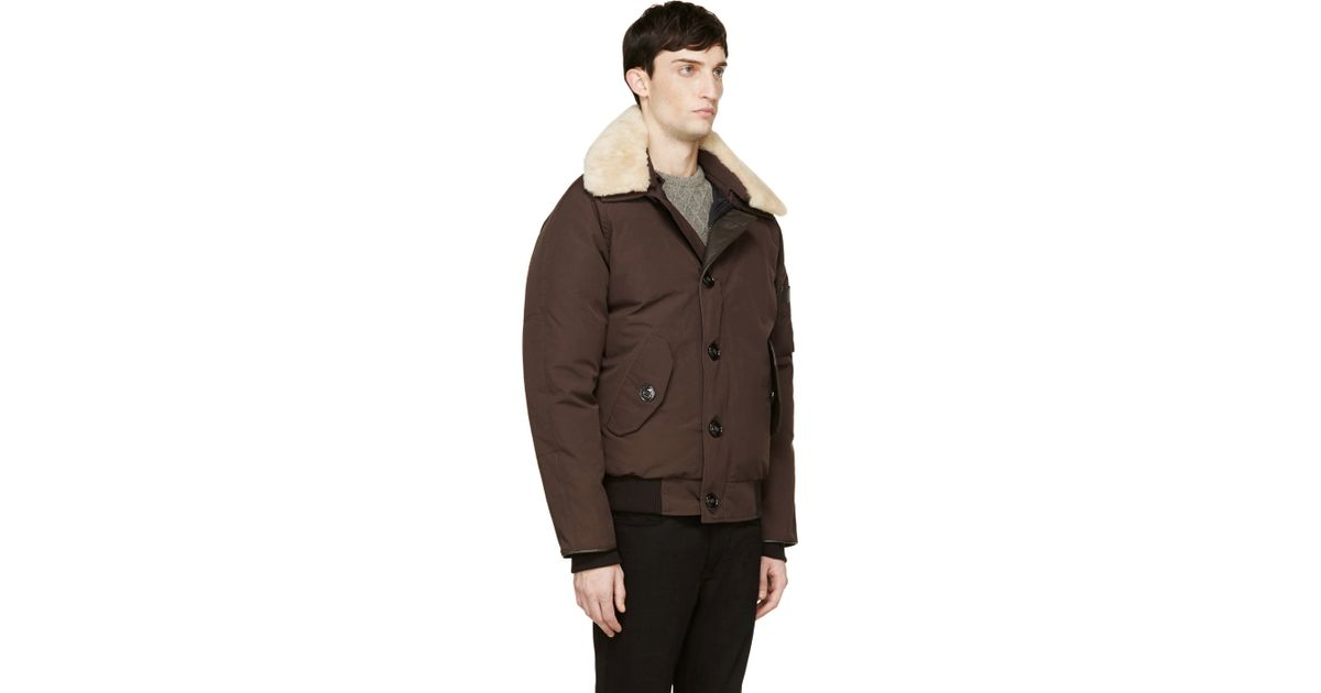 Canada Goose langford parka sale cheap - Canada goose Brown Shearling Collar Foxe Bomber Jacket in Brown ...