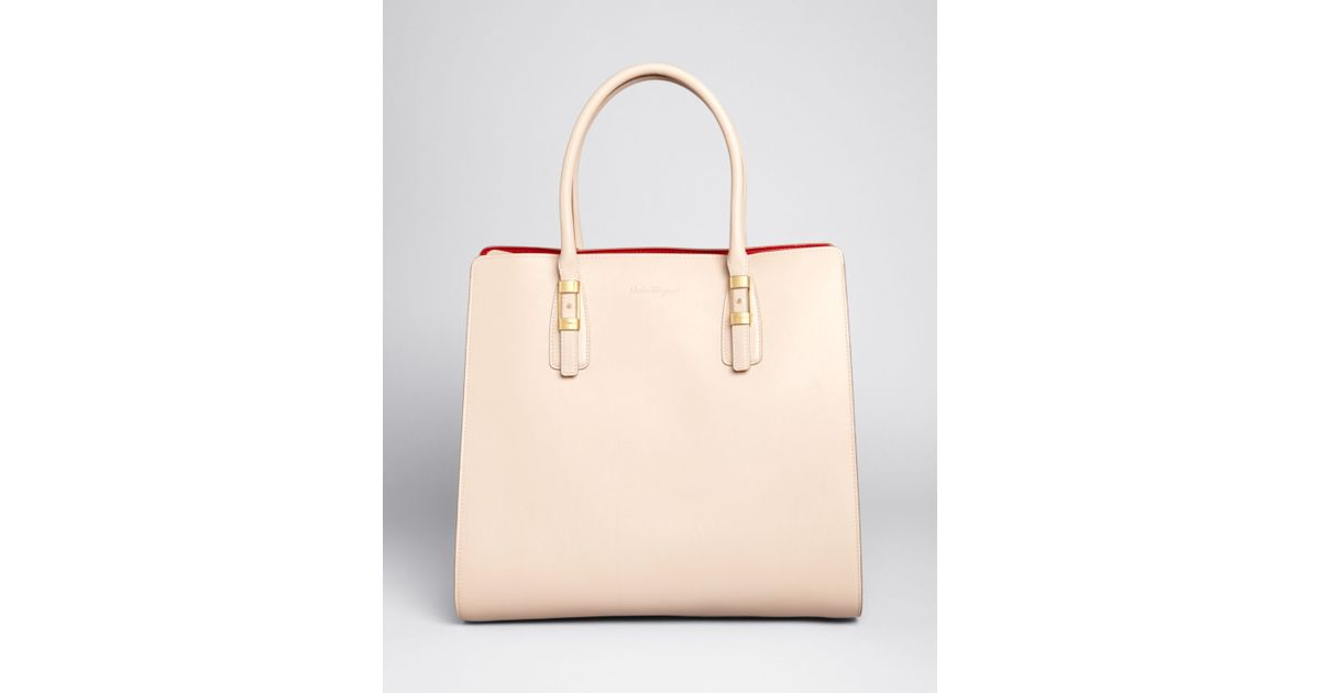 a62523b36670ec Lyst - Ferragamo Tote - Colorblock Whitney in Natural