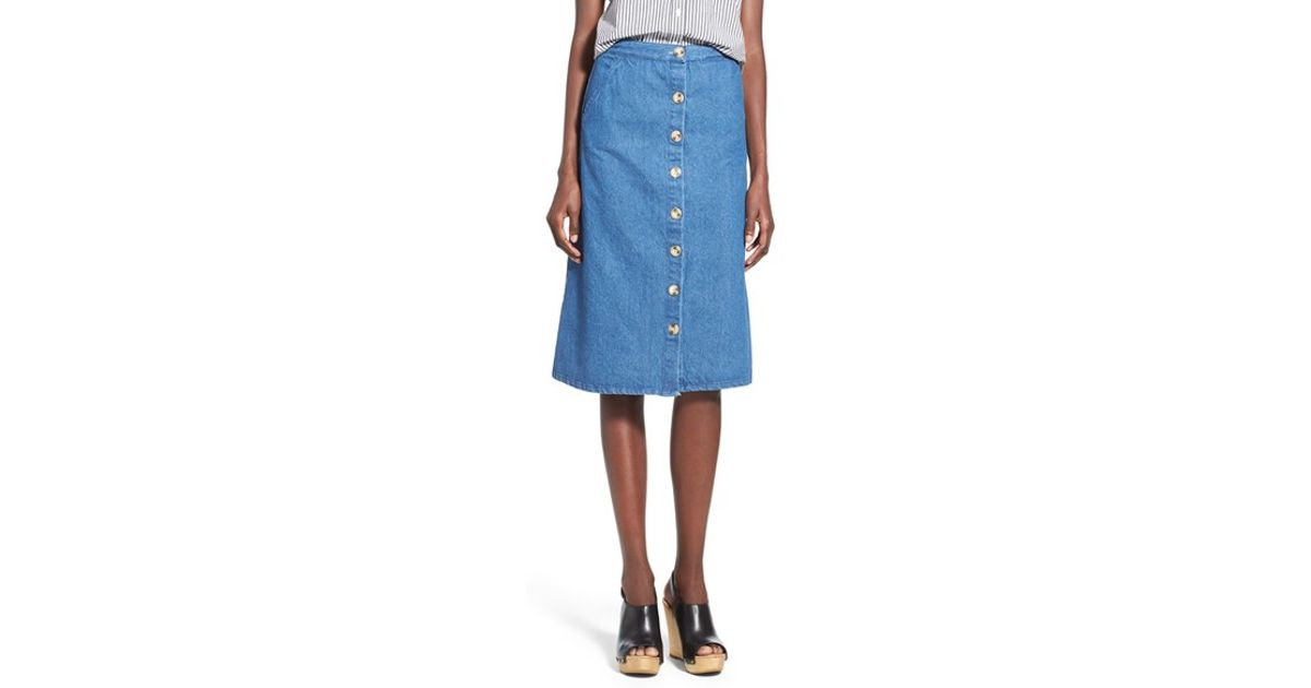 Mimi chica Button Front Denim Midi Skirt in Blue | Lyst