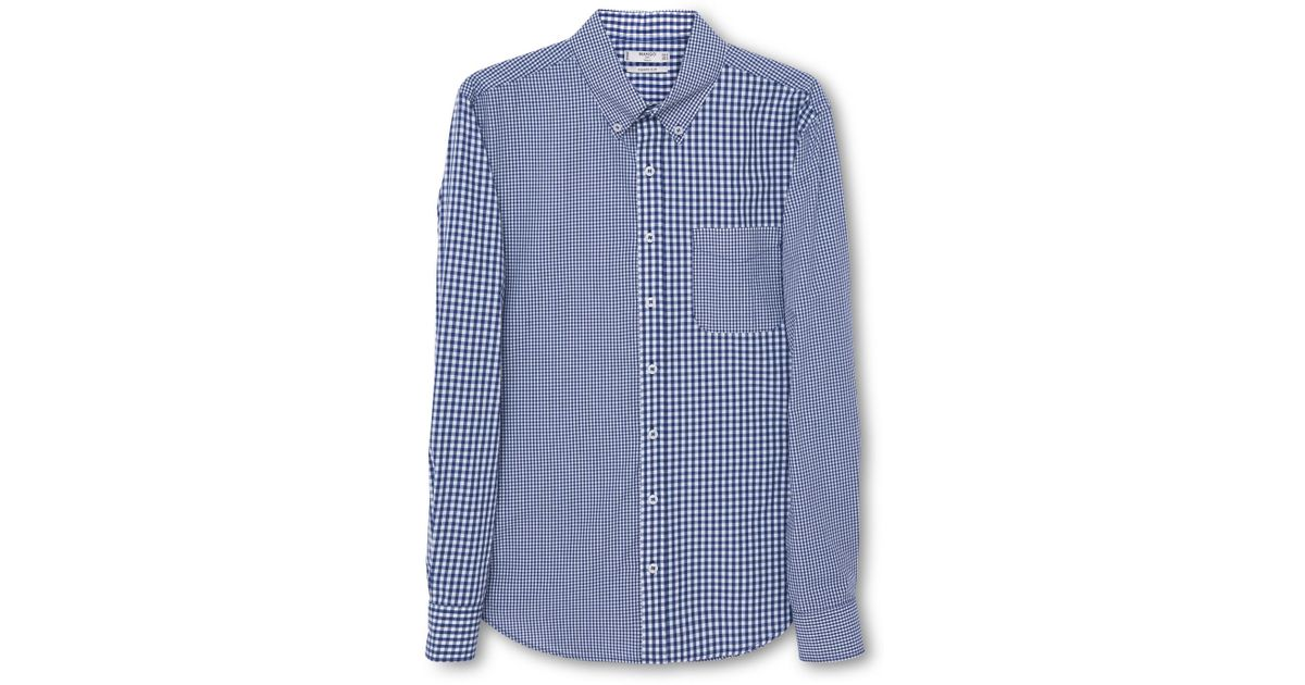 Mango gingham slim fit long sleeve button down shirt in for Blue gingham button down shirt