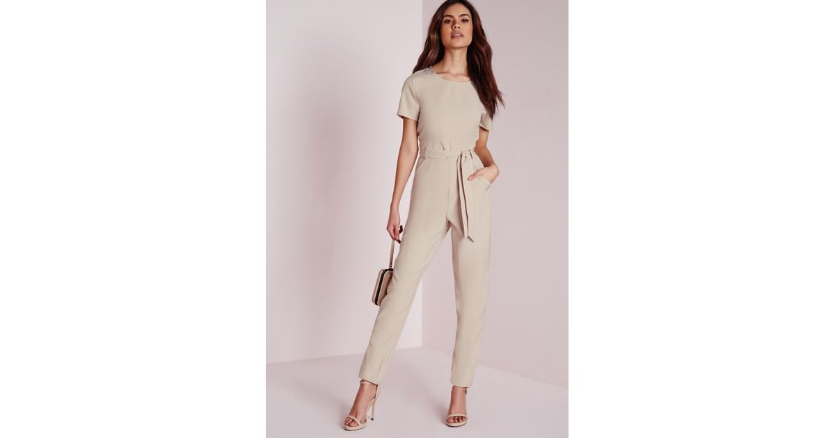 d70492e80e9b Lyst - Missguided Tie Front T-shirt Jumpsuit Nude in Natural