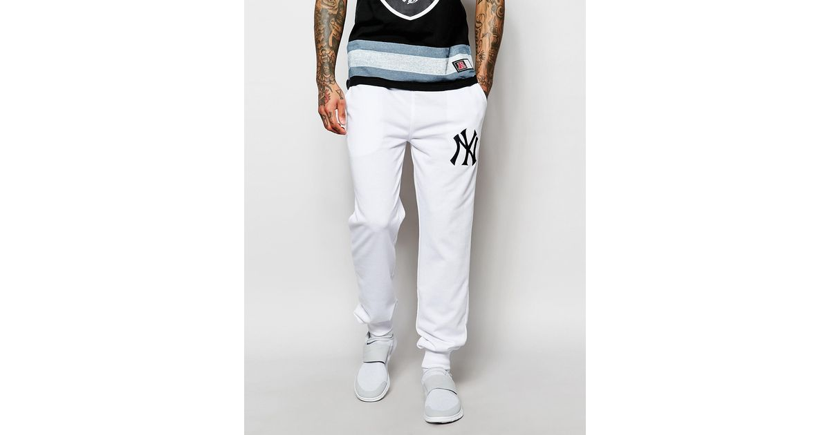 ba871a5a Majestic Yankees Skinny Joggers in White for Men - Lyst