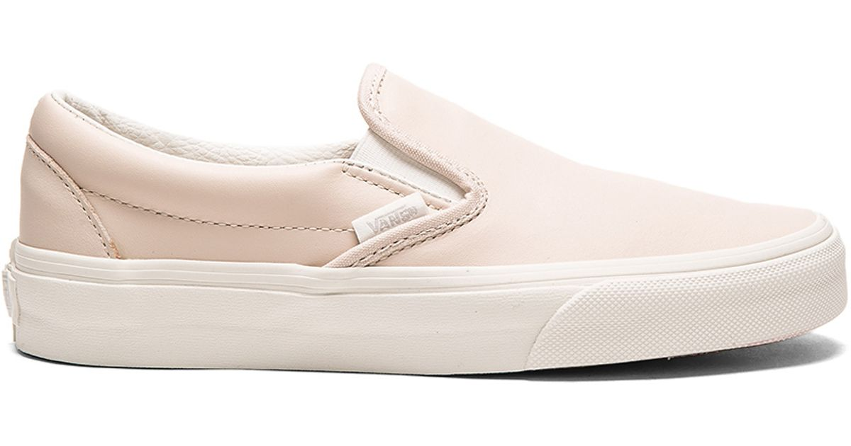 884153430e Lyst - Vans Leather Classic Slip-on in Pink