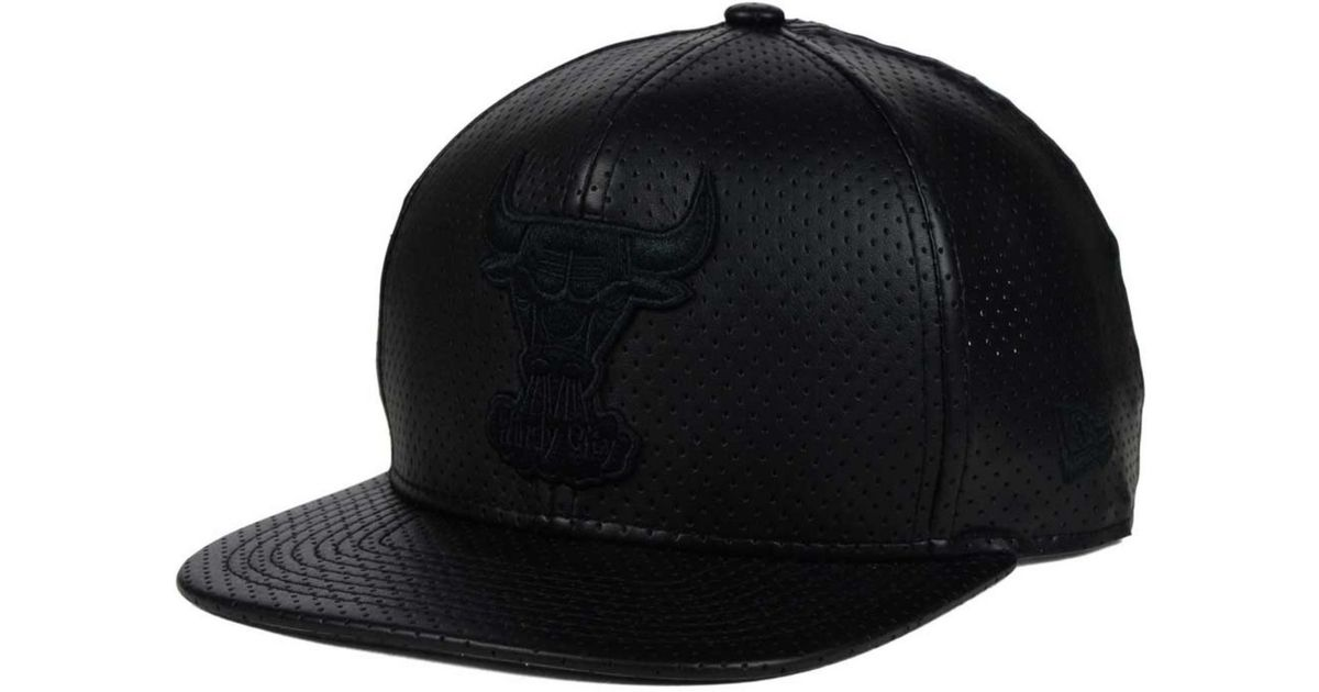 size 40 6183c c5d0e ... store lyst ktz chicago bulls faux leather 9fifty snapback cap in black  for men 8baad 770e4