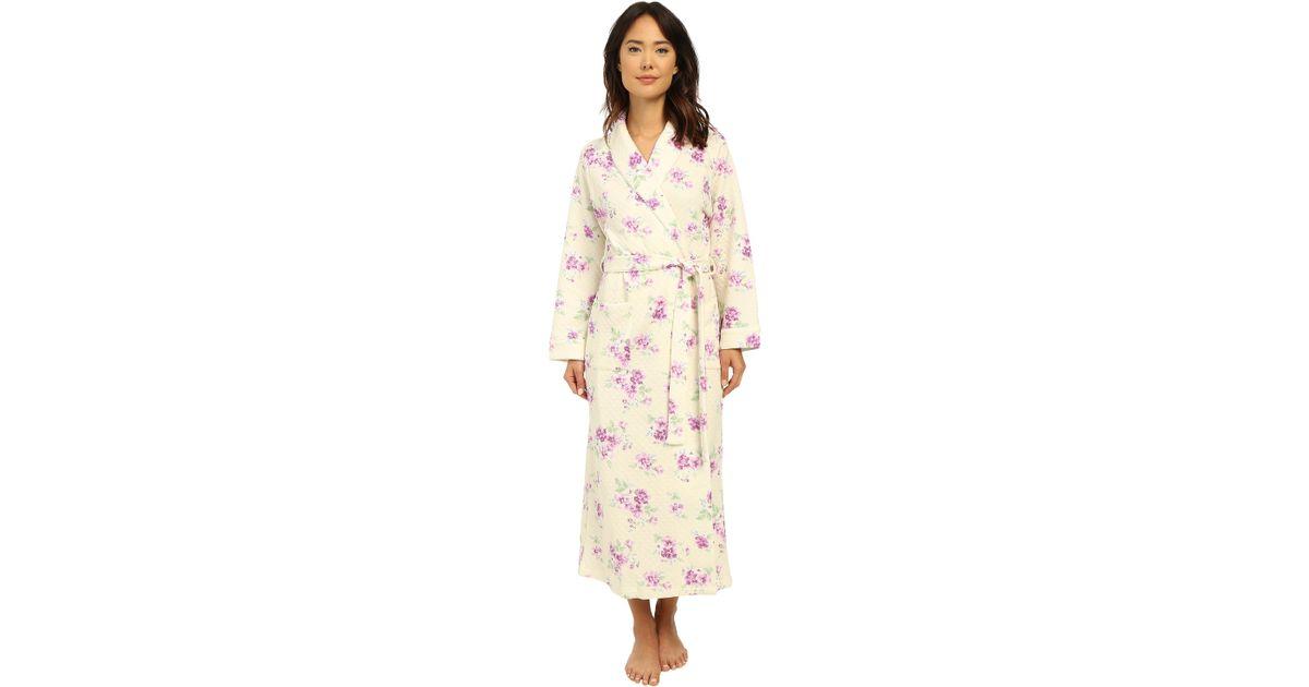 Lyst - Carole Hochman Diamond Quilt Floral Long Robe