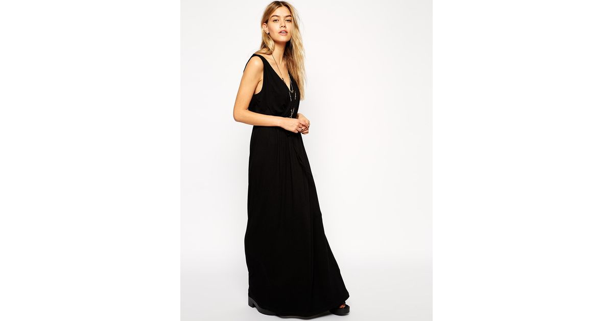 Lyst Asos Grecian Maxi Dress In Black