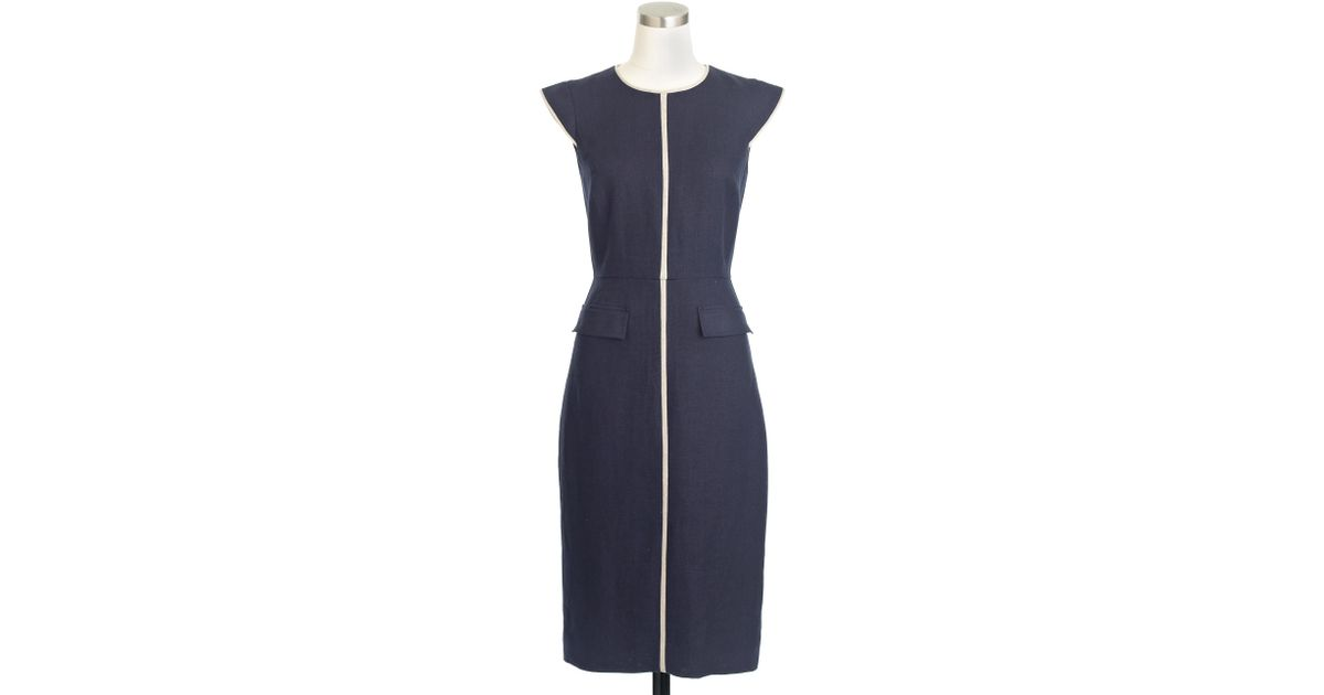 48699107a1d Lyst - J.Crew Tall Patch-pocket Sheath Dress In Tipped Linen in Blue