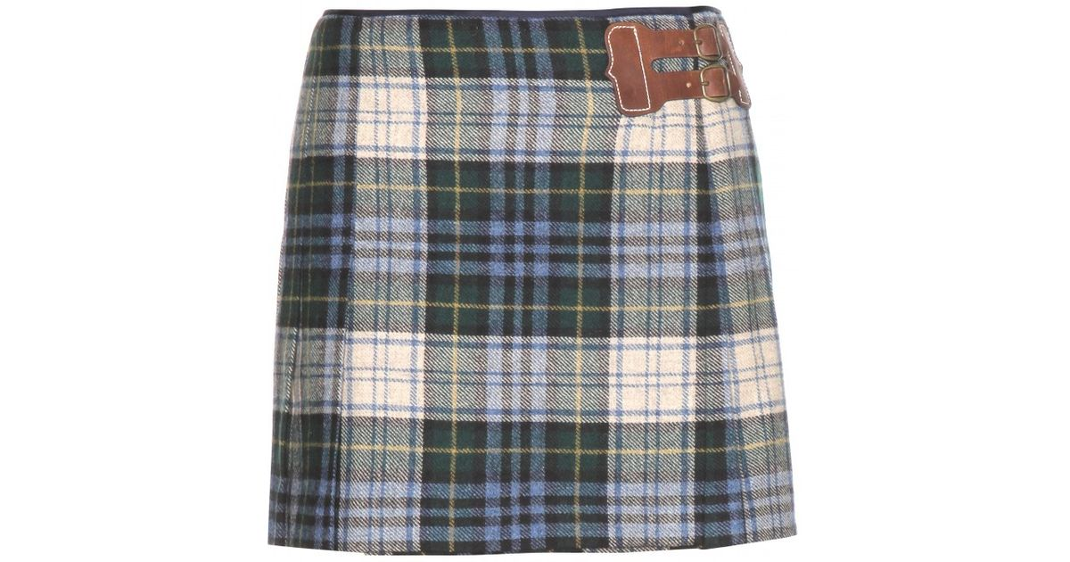 664a46a0b Ralph Lauren Wool Plaid Mini Skirt in Blue - Lyst