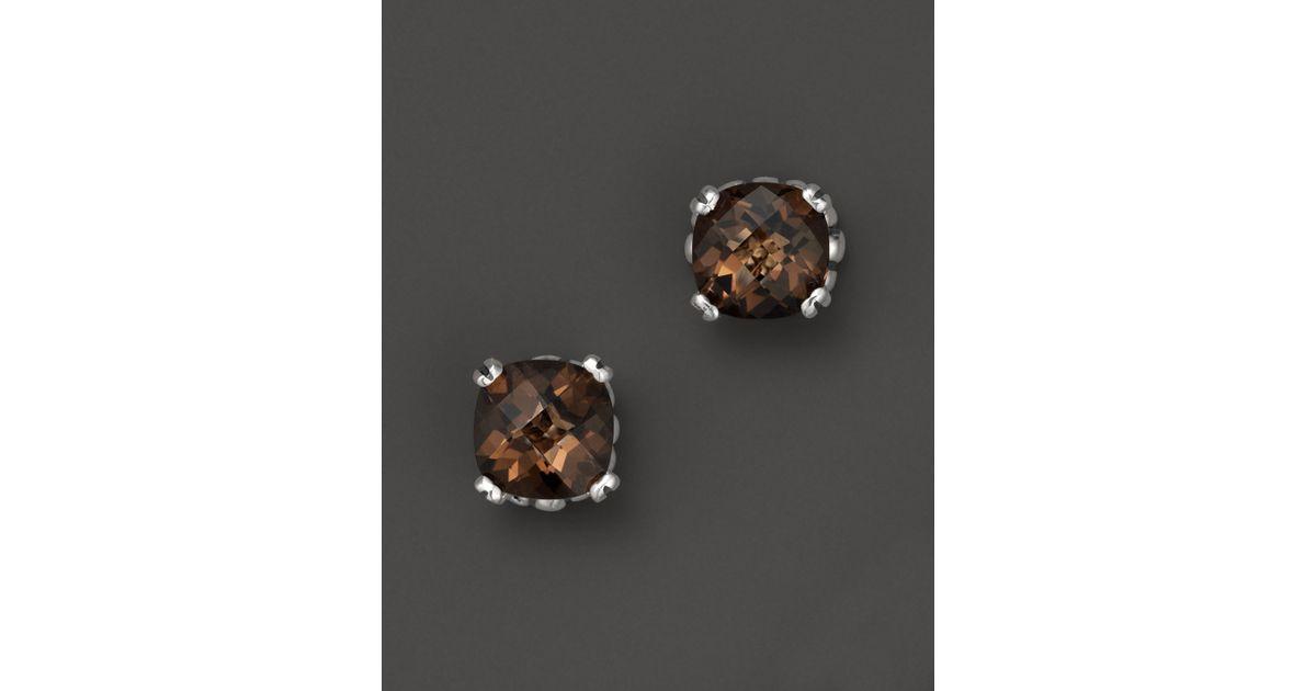 Lyst Lagos Prism Smoky Quartz Stud Earrings In Sterling Silver Metallic