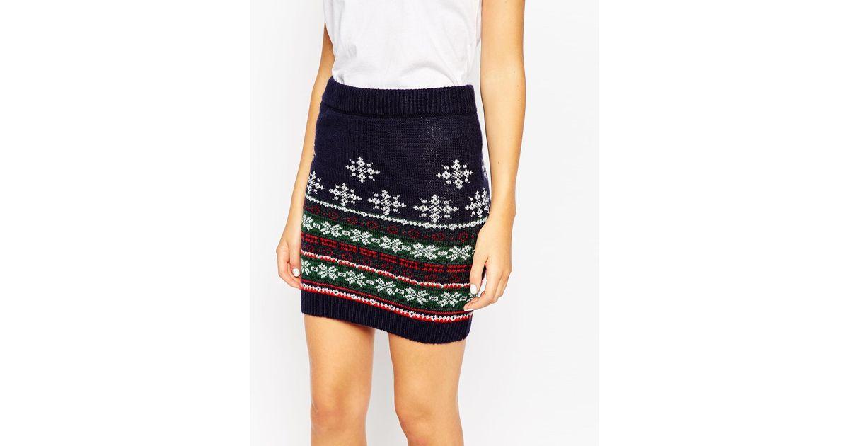 Lyst - Asos Co-ord Knitted Skirt In Christmas Fairisle in Blue