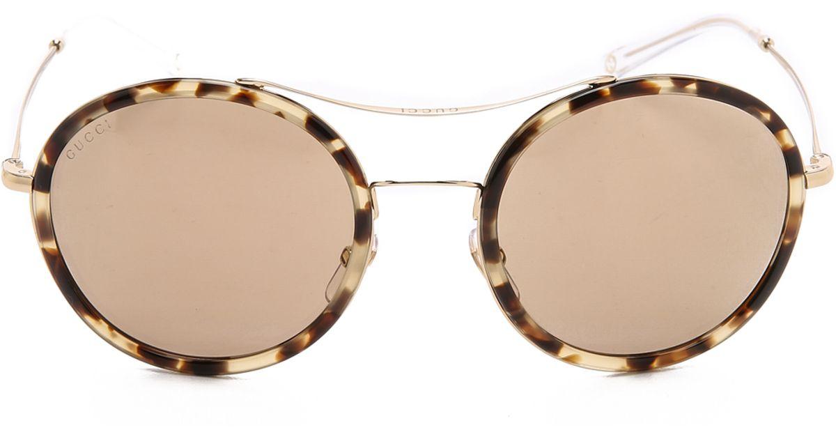 de748a0a4f Gucci Round Aviator Sunglasses - Havana Honey Gold Brown in Brown - Lyst