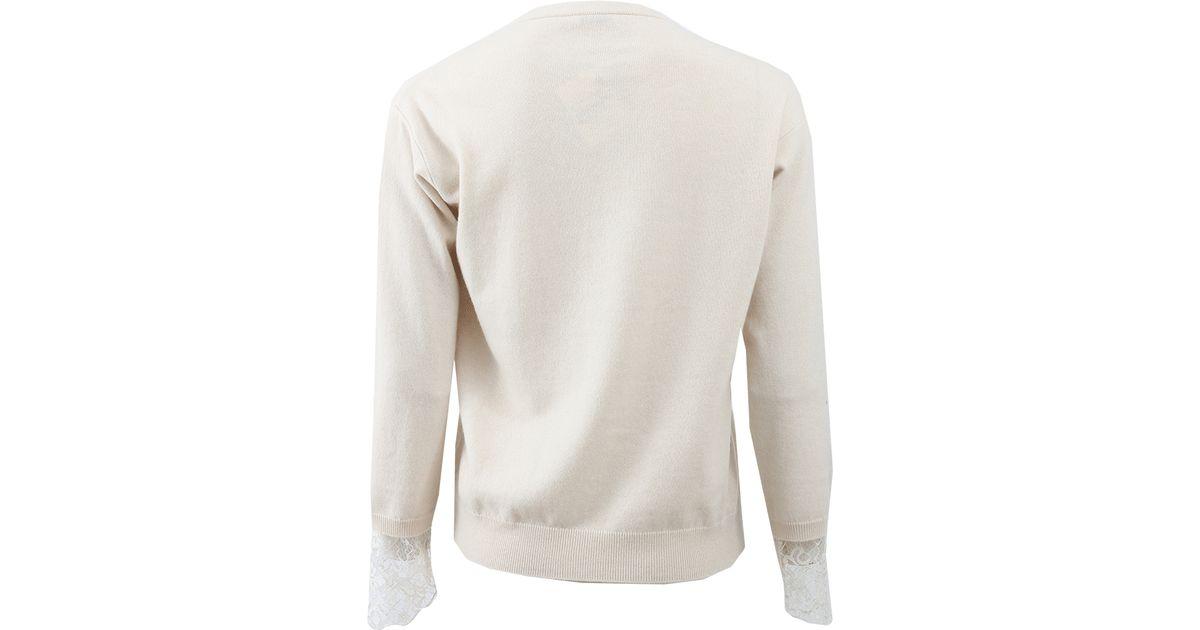 0c6cc87f6d Lyst - Brunello Cucinelli Lace Cuff Sweater in Natural
