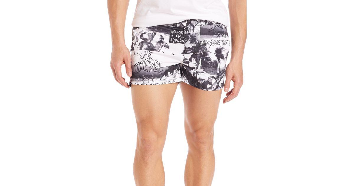 87bfa74c4a041 Lyst - DIESEL Island Print Swim Trunks for Men