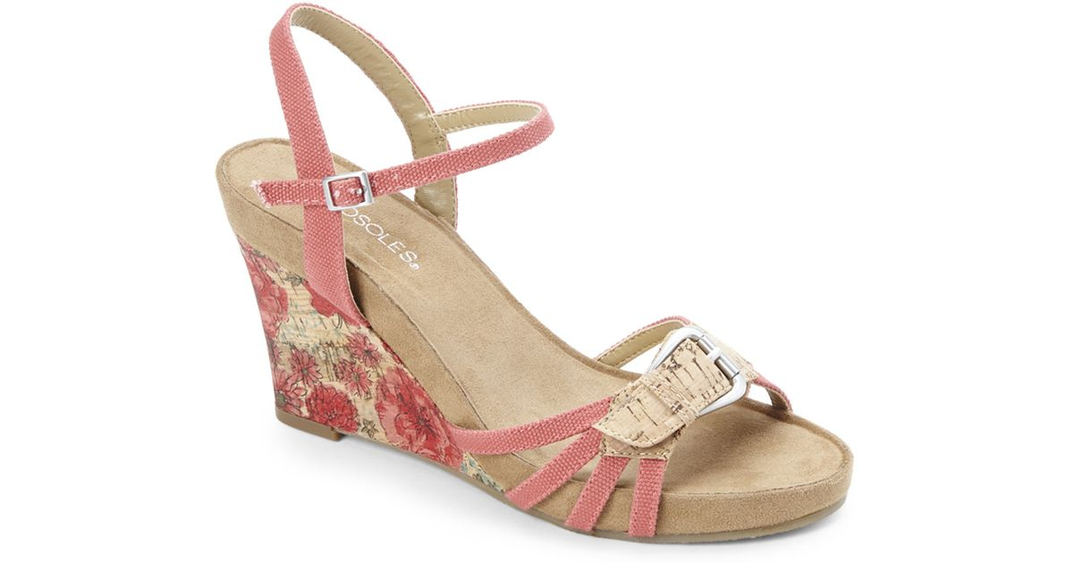 eea274f63a0 Lyst - Aerosoles Coral Plush Around Wedge Sandals in Natural