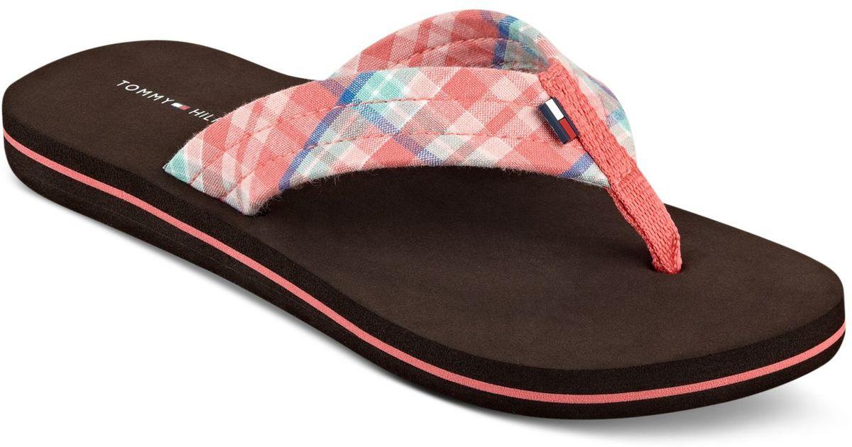 tommy hilfiger women 39 s conica plaid flip flop sandals in. Black Bedroom Furniture Sets. Home Design Ideas