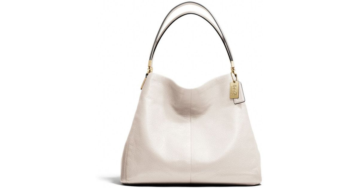 fcb76d5812 ... canada lyst coach madison small phoebe shoulder bag in leather in white  375ed 3de3b