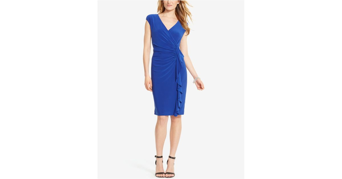 American Living Cap Sleeve Ruffled Dress In Blue Lyst