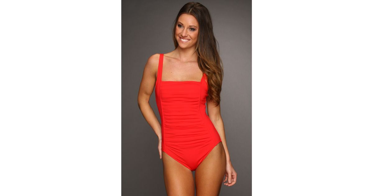0a2121adceb5d Calvin Klein Pleated Front One Piece Swimsuit in Red - Lyst