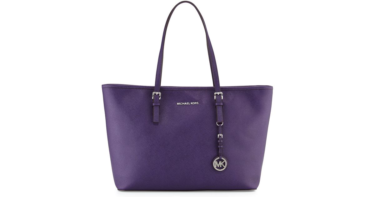 29a545a2632e ... greece lyst michael michael kors jet set travel medium multifunction  zip tote bag in purple 00735