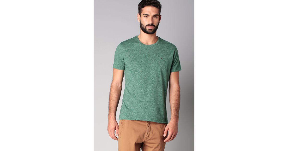 hilfiger denim short sleeve t shirt in green for men lyst. Black Bedroom Furniture Sets. Home Design Ideas