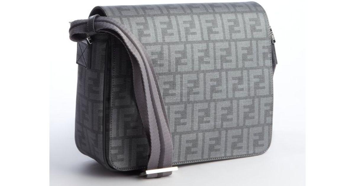 bdee75e0e0d0 promo code black leather selleria shoulder bag messenger fendi ab739 a585b   cheap lyst fendi light grey zucca spalmati small messenger bag in gray for  men ...