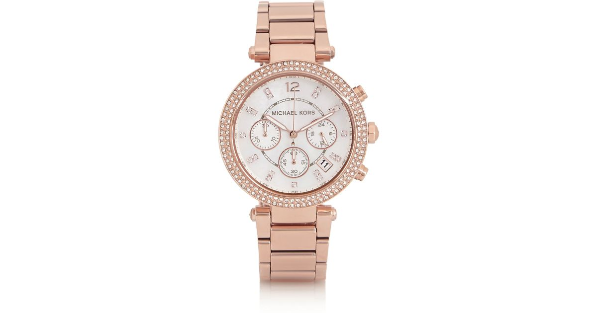 a7423fc01352 Michael Kors Rose Gold Watch With Swarovski Crystals - HD Image ...