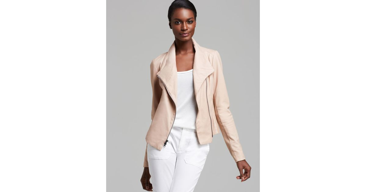 Vince Jacket Paper Leather Scuba In Pink Lyst