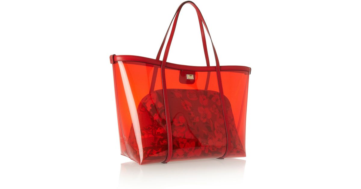 Dolce   Gabbana Escape Leathertrimmed Pvc Tote in Red - Lyst 341a2be89d