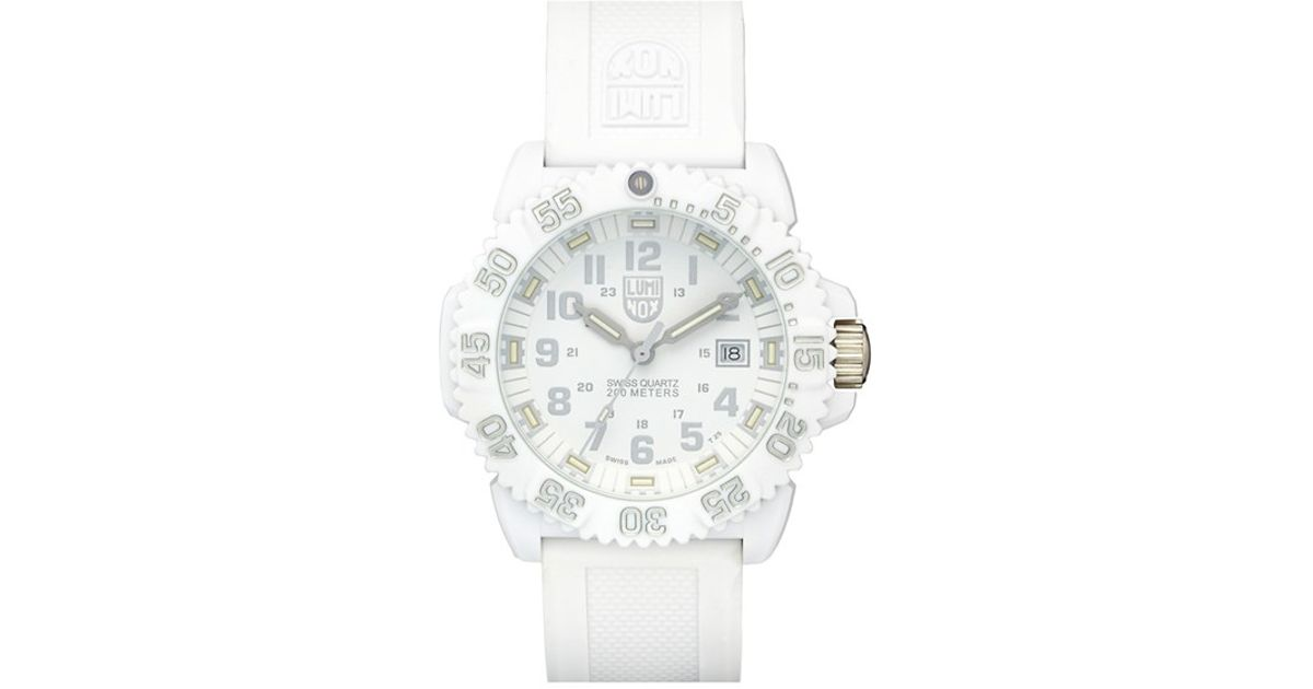 6ad6b3d16 Lyst - Luminox 'sea - Navy Seal Colormark' Chronograph Silicone Strap Watch  in White for Men
