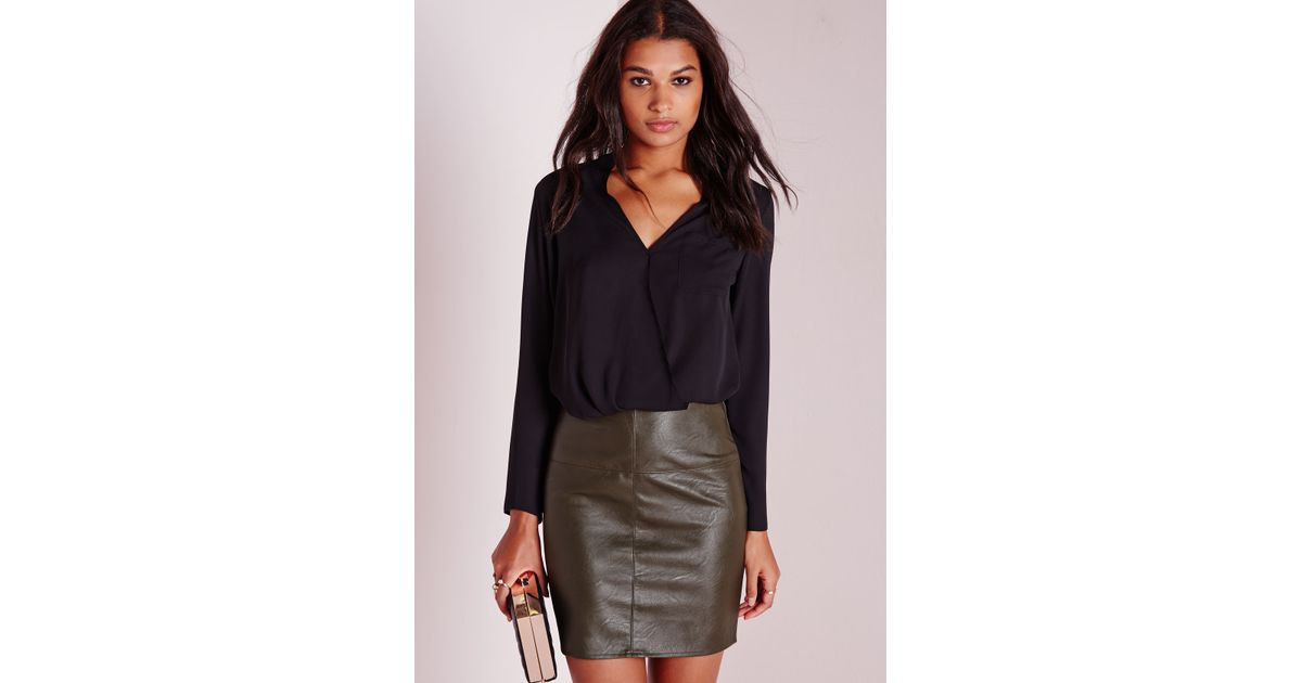 7622134fd7 Missguided Tall Faux Leather Mini Skirt Khaki in Natural - Lyst
