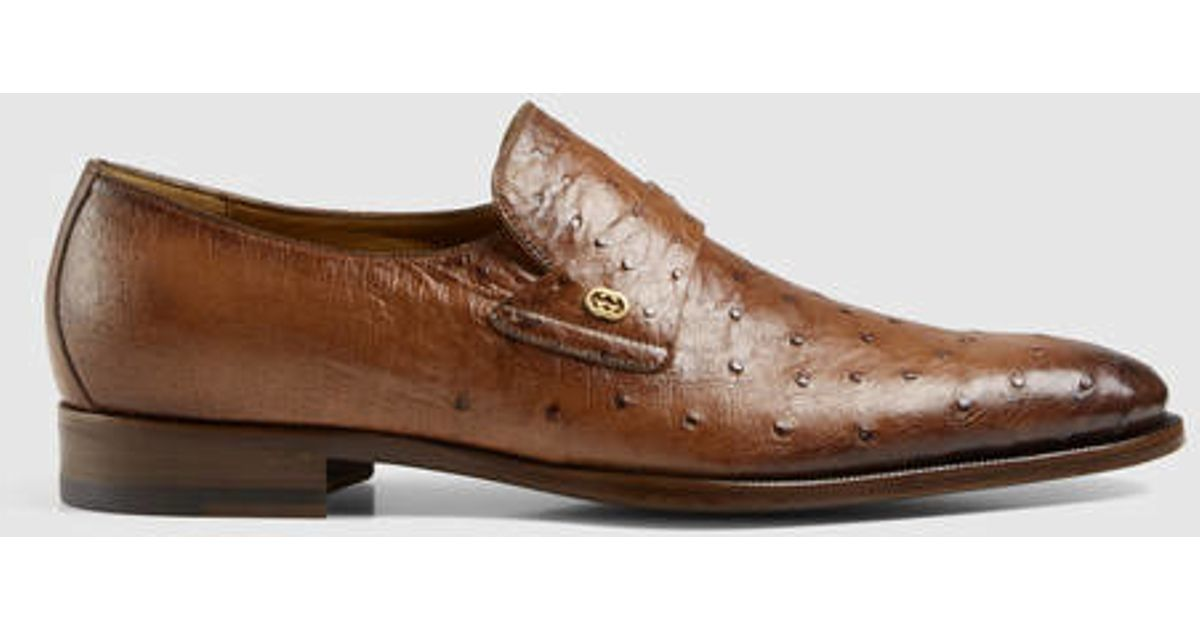 4dcd77c37e Lyst - Gucci Ostrich Loafer in Brown for Men