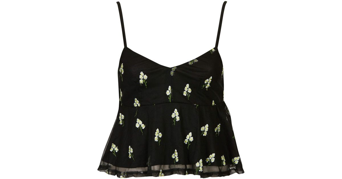 f7ab666b97b026 Lyst - TOPSHOP Daisy Embroidered Peplum Cami in Black