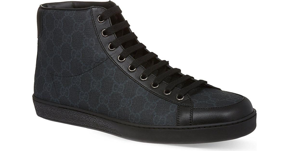 f0540cf0a08 Gucci Brooklyn Gg Hi-top Trainers in Black for Men - Lyst
