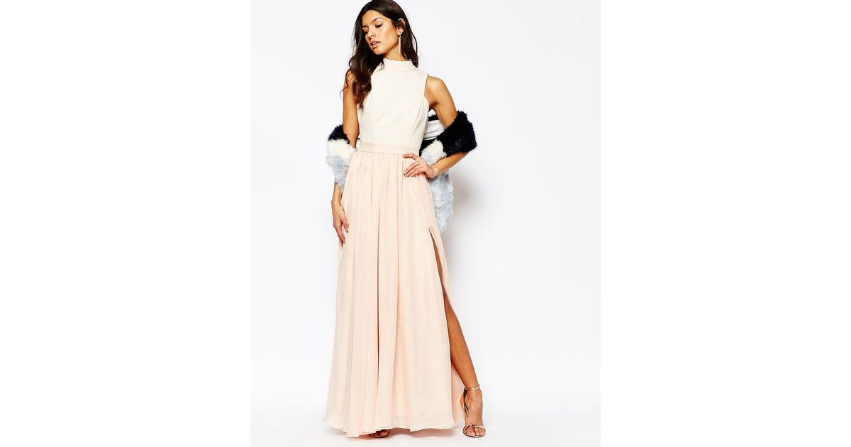Lyst - Fame & Partners Downtown Queen Full Prom Maxi Dress With High ...