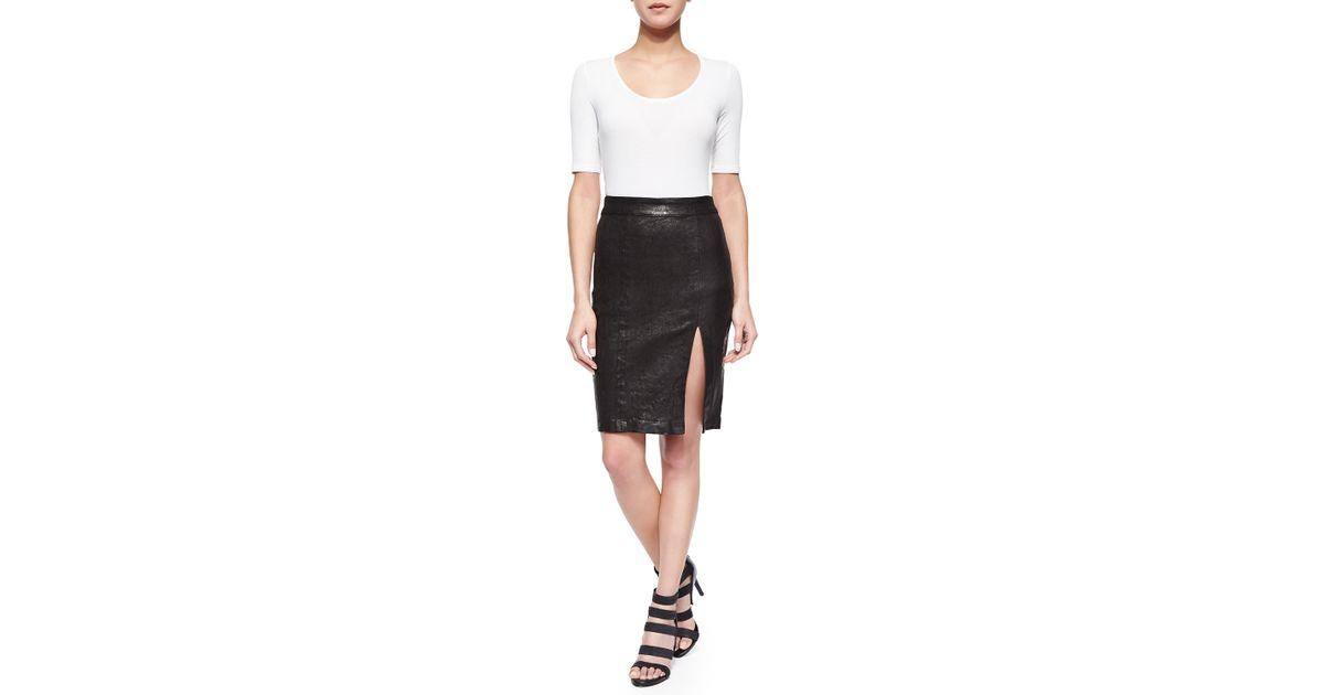 frame front slit leather pencil skirt in black lyst