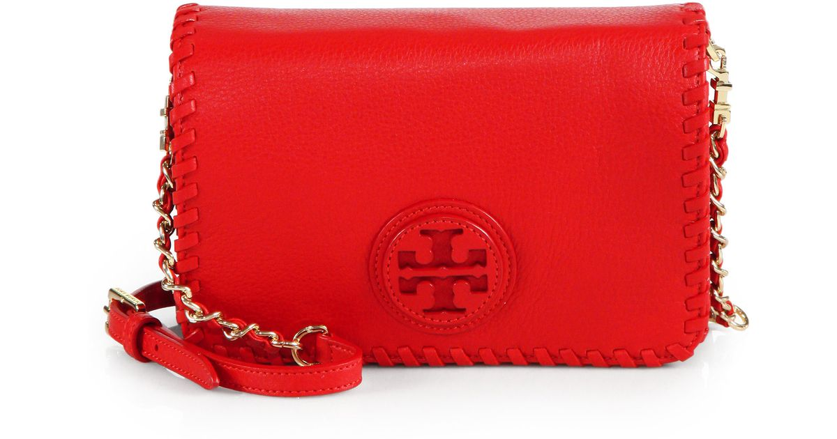lyst tory burch marion combo crossbody bag in red