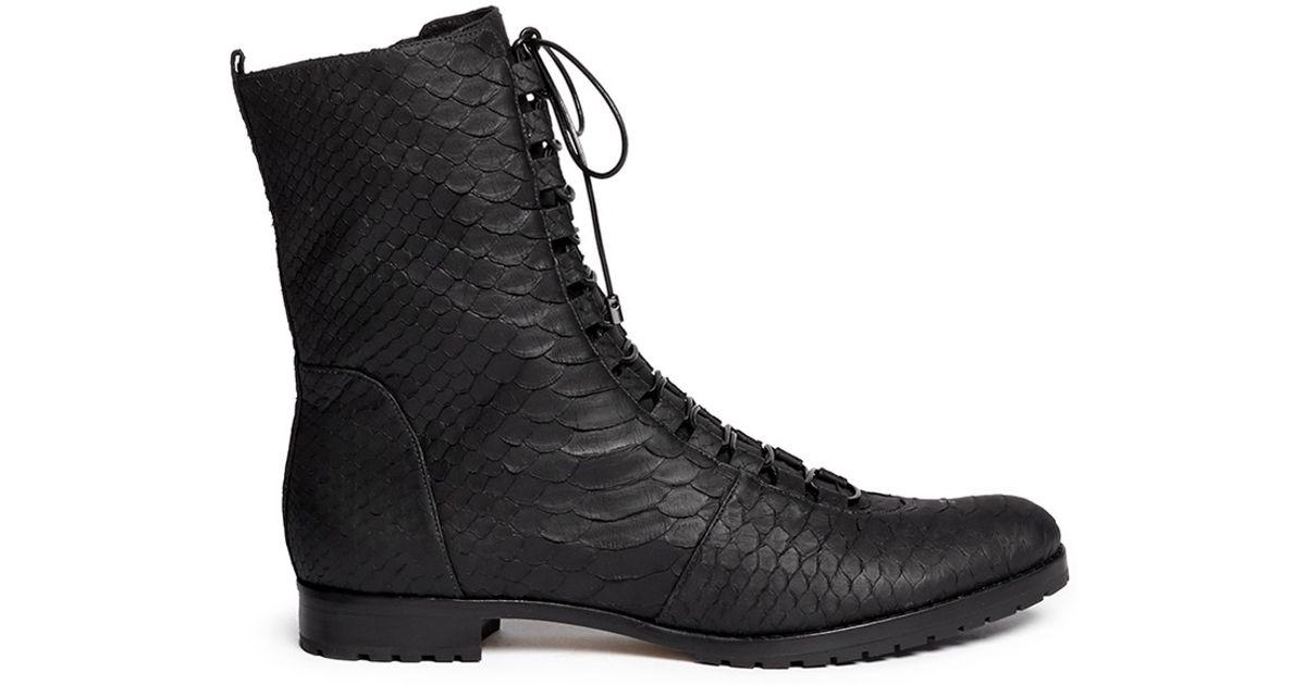 Alexandre birman 'benjamine' Matte Python Leather Combat Boots in ...