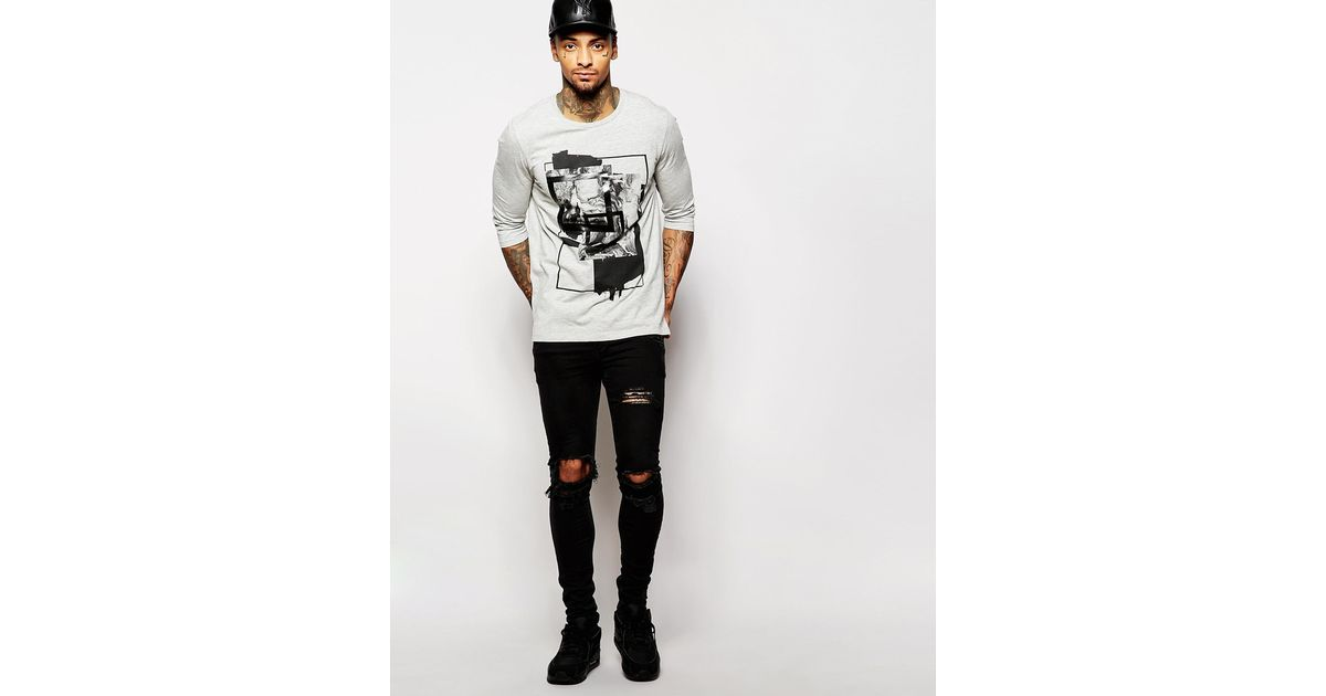 Lyst - Asos Longline 3/4 Sleeve T-shirt With Abstract Print in Gray for Men