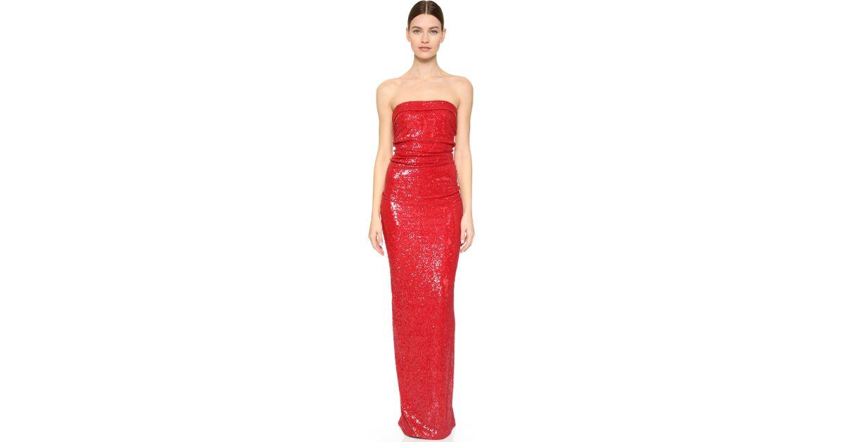 Lyst - Donna Karan Strapless Evening Gown in Red