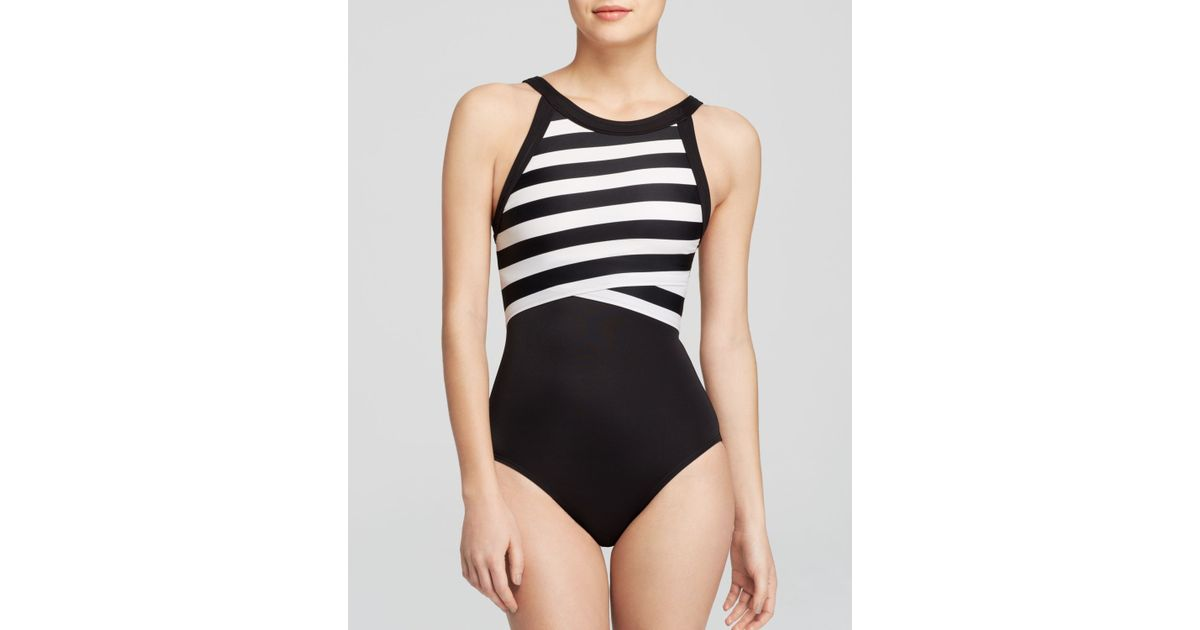 e2a1dfefed6a6 DKNY Iconic Stripes High Neck Maillot One Piece Swimsuit in Black - Lyst