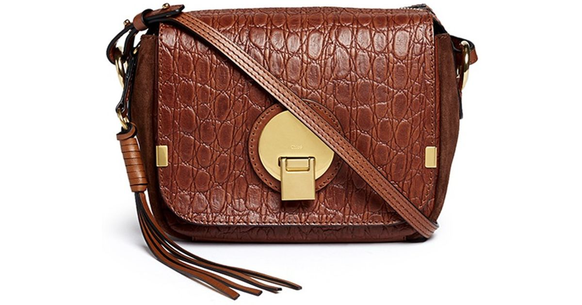 chloe indy croc embossed leather camera bag