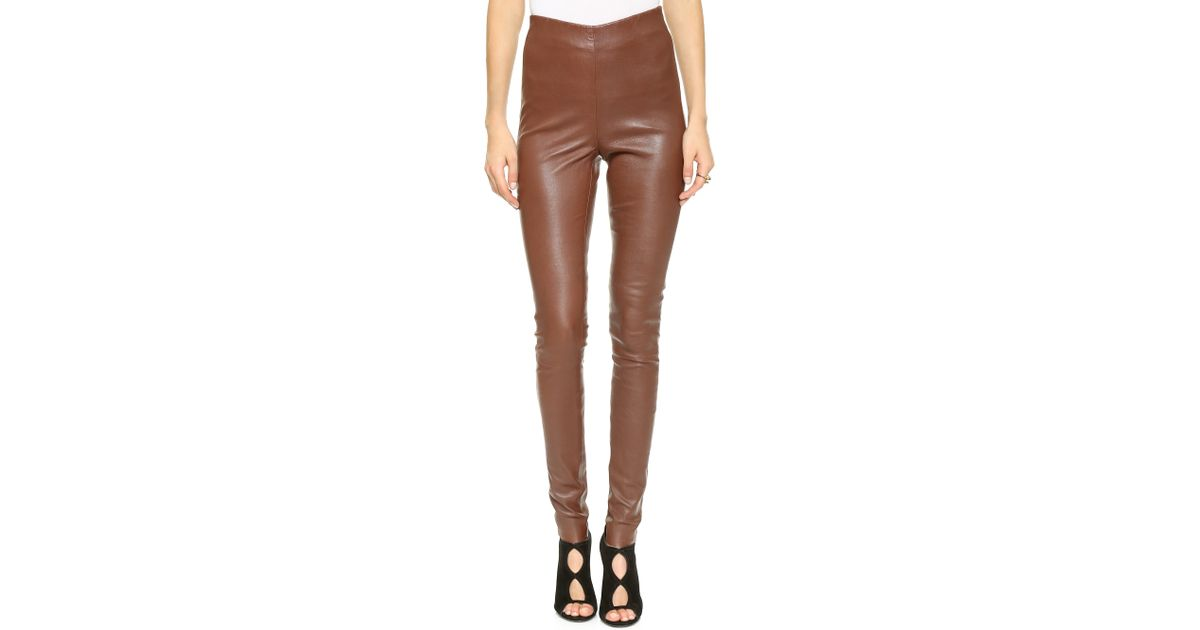f2984166fd5069 By Malene Birger Elenaso Leather Leggings Rust in Brown - Lyst