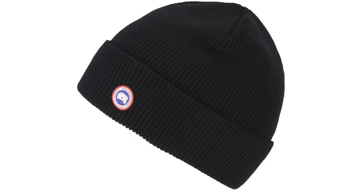 Canada Goose Men s Merino Wool Beanie Hat in Black for Men - Lyst 1a1ab61f7fb