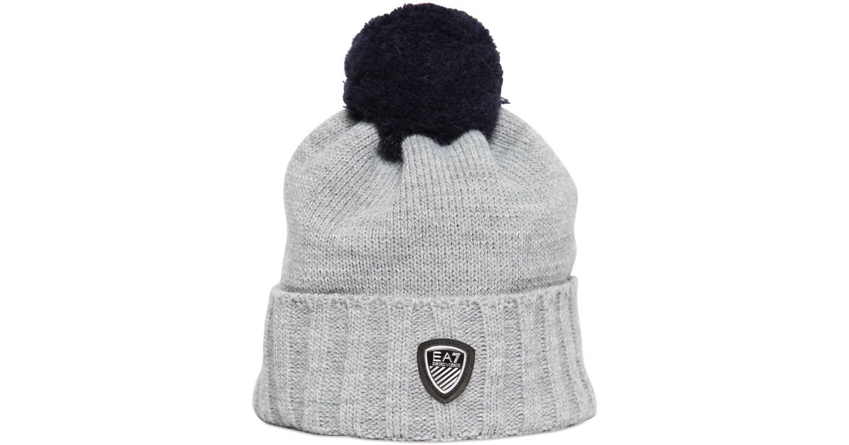 31240d20591 Emporio Armani Knit Beanie Hat With Pompom in Gray for Men - Lyst