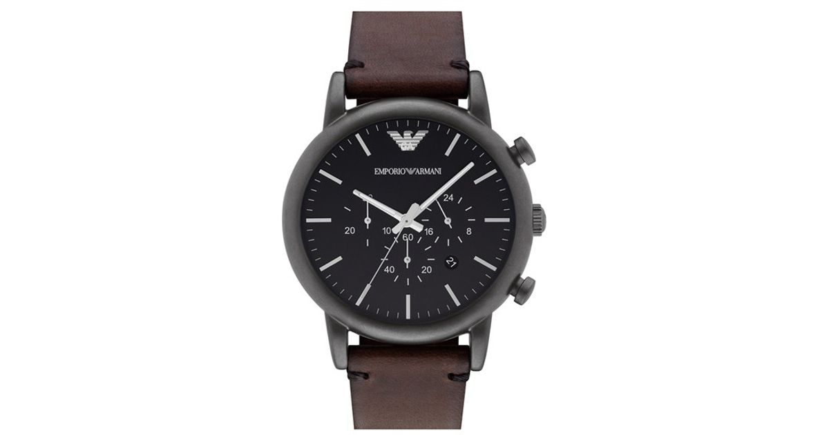 b09bfbc08 Lyst - Emporio Armani Leather Strap Watch in Black for Men