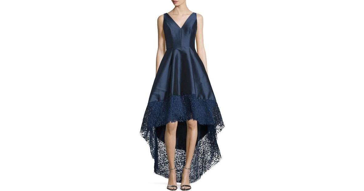 695883ab8a23 Monique Lhuillier Sleeveless High-low Midi Cocktail Dress in Blue - Lyst