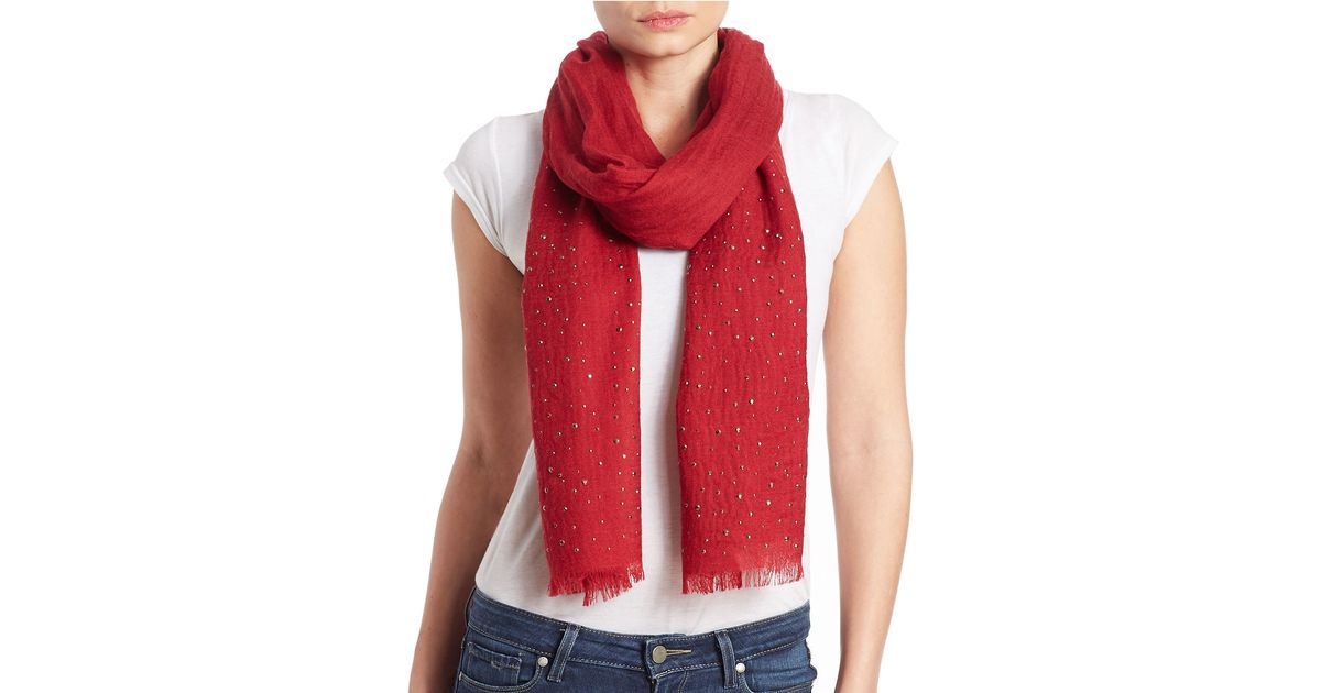 lord wool embellished scarf in lyst