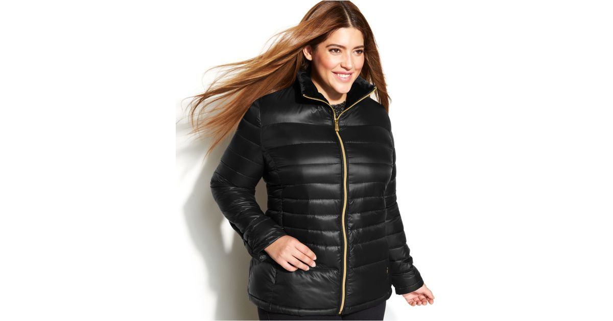 d443d7d90ce Lyst - Calvin Klein Plus Size Quilted Packable Down Puffer Coat in Black