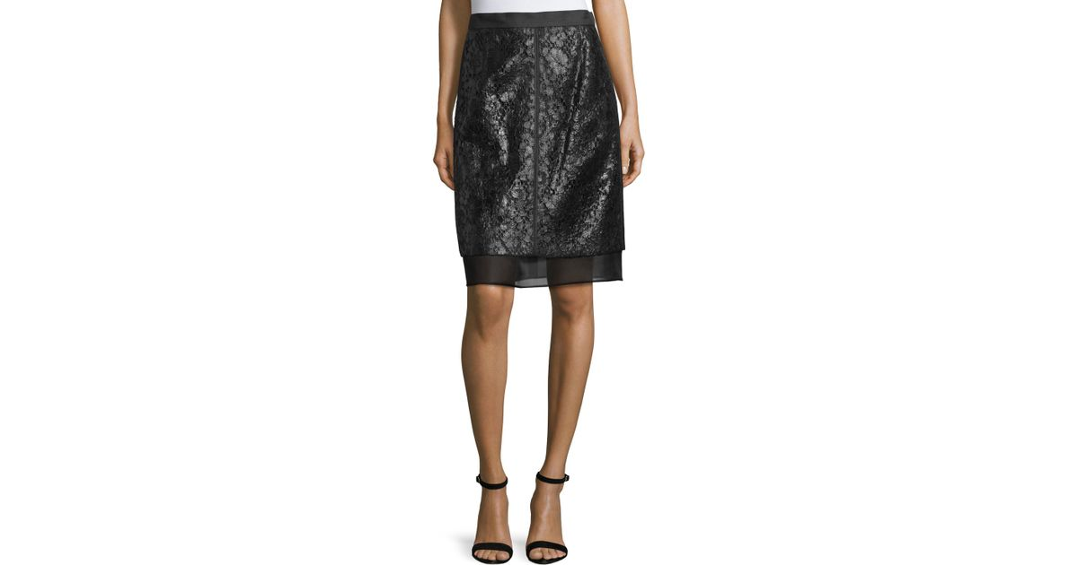 j mendel lace overlay pencil skirt in black save 63 lyst